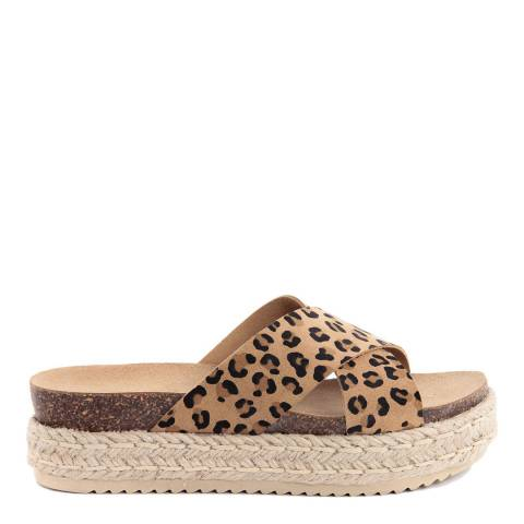 Ri-Belle Brown Leather Leopard Print Crossed Band Sandals