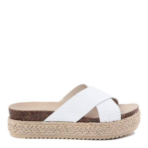 Ri-Belle White Leather Crack Effect Cross Band Sandals