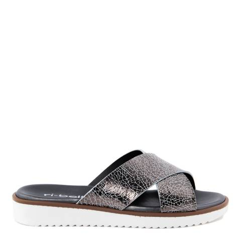 Ri-Belle Pewter Leather Crack Effect Cross Band Sandals