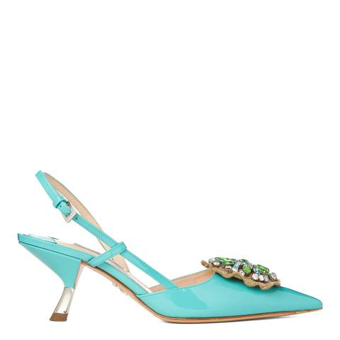 Prada Light Turquoise Leather Vernice 2 Embellished Sandals Heels