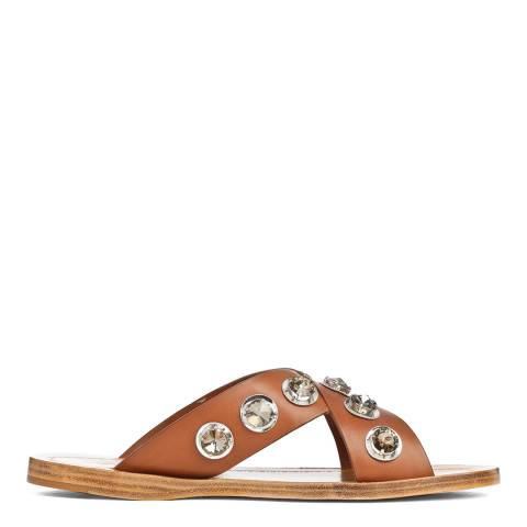 Prada Tan Leather Natural Gem Embellished Flat Sandals