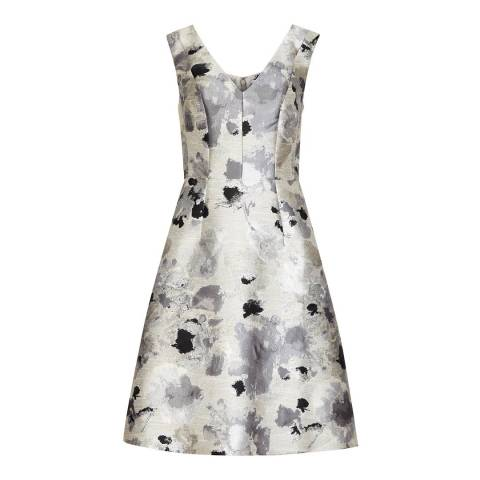 Reiss Silver Metallic Jacquard Melba Dress
