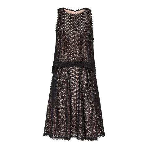 Reiss Black/Nude Remi Layered Lace Dress