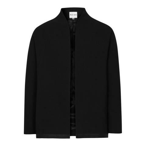 Reiss Black Open Front Hatto Wool Jacket