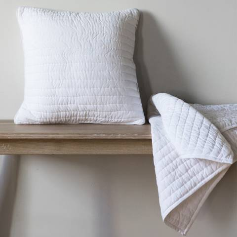 Gallery White Linear Quilted Cushion 45x45cm