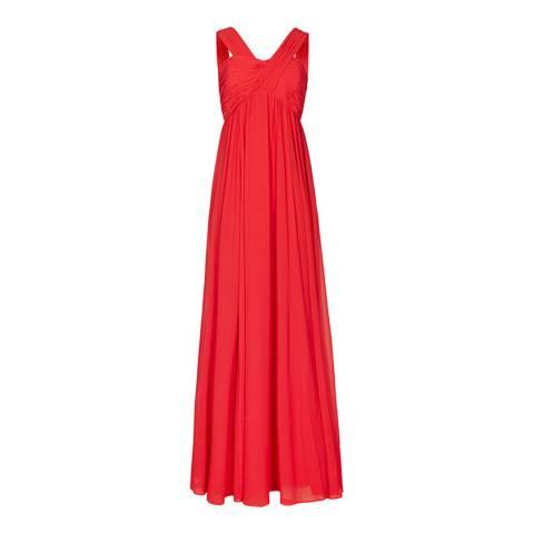 Reiss Red Cross Strap Miriana Long Dress