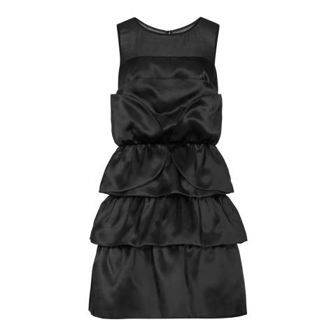 Reiss Black Silk Layered Detail Beatrice Dress