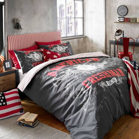 American Freshman Charcoal/Red Cotton Blend Carter Kingsize Duvet Set