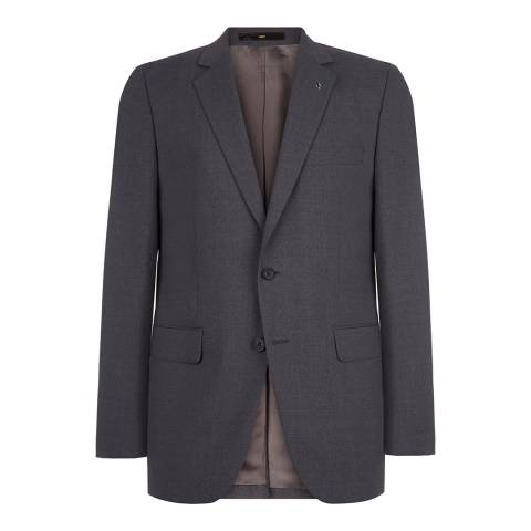 Jaeger Charcoal Wool Plain Travel Suit Jacket