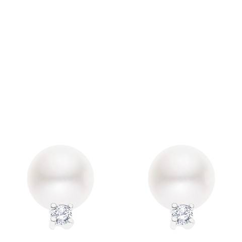 Just Pearl White/Silver Freshwater Pearl Stud Earrings