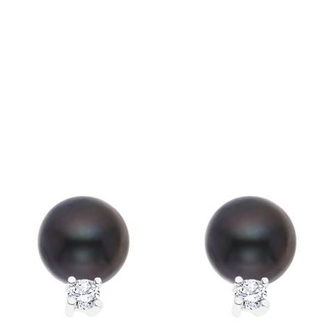 Just Pearl Black Tahitian/Silver Freshwater Pearl Stud Earrings