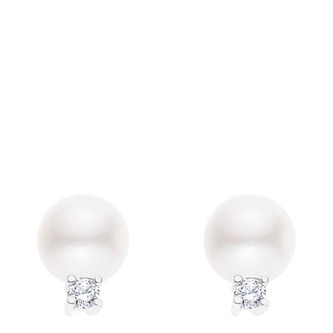 Just Pearl White/Silver Freshwater Pearl Stud Earrings