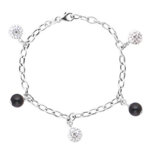 Just Pearl Black Tahitian/Silver Freshwater Pearl/Crystal Charm Bracelet