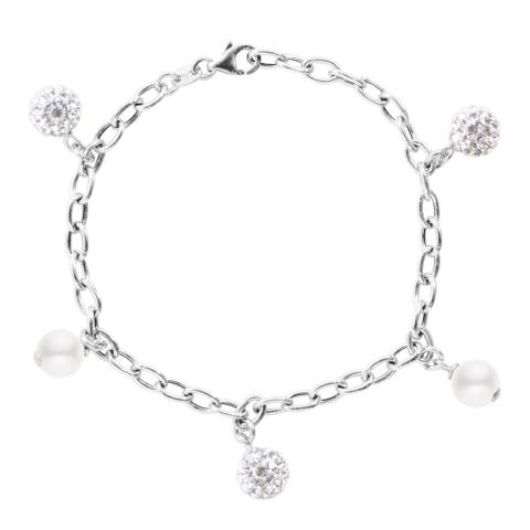 Just Pearl White/Silver Freshwater Pearl/Crystal Charm Bracelet 8-9cm