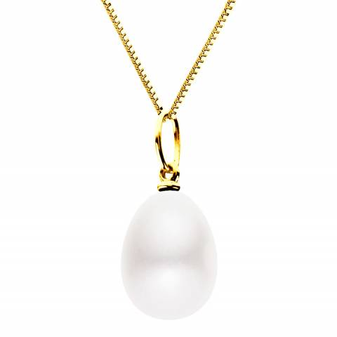Just Pearl White/Gold Freshwater Pearl Pendant Necklace
