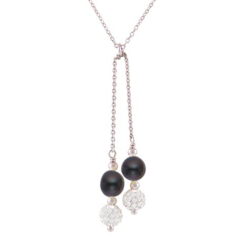 Just Pearl Black Tahitian/Silver Freshwater Pearl/Crystal Drop Necklace