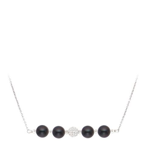 Just Pearl Black Round Pearl Necklace