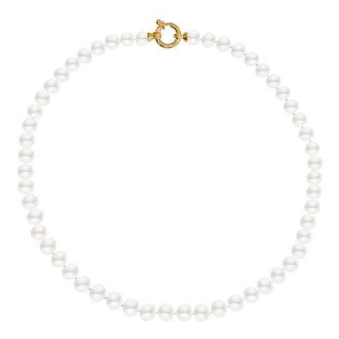 Just Pearl White/Gold Freshwater Pearl Necklace