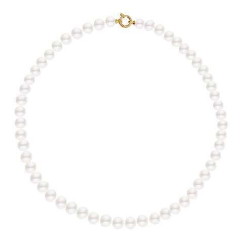 Mitzuko White/Gold Freshwater Pearl Choker Necklace 9-10mm