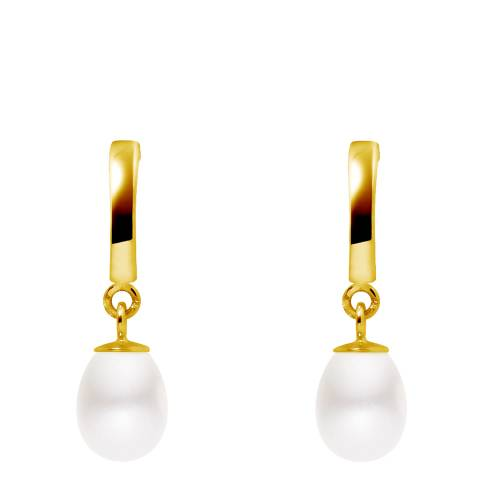 Just Pearl White/Gold Freshwater Pearl Pear Drop Earrings