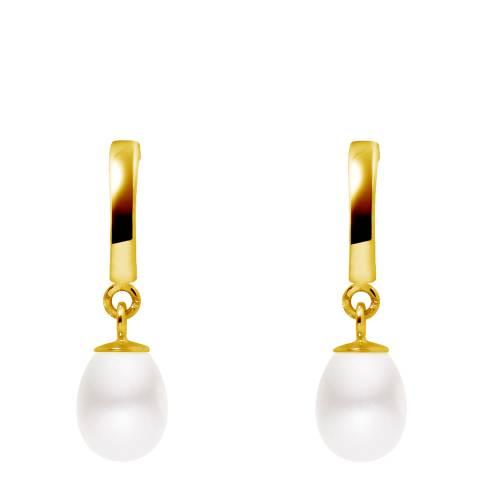 Mitzuko White/Gold Freshwater Pearl Pear Drop Earrings