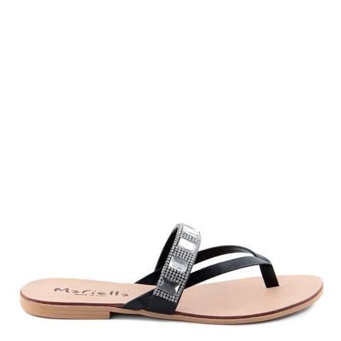 Mariella Black Rhinestone Flip Flop Sandals