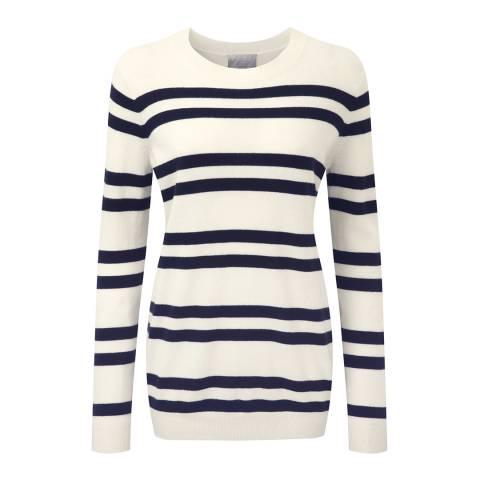 Pure Collection Soft White/Navy Cashmere Boyfriend Jumper