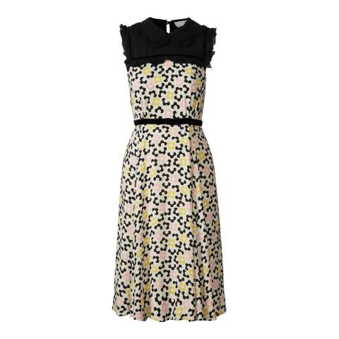 Orla Kiely Multi Velvet Trim Viscose Flora Regular Length Sleeveless Dress