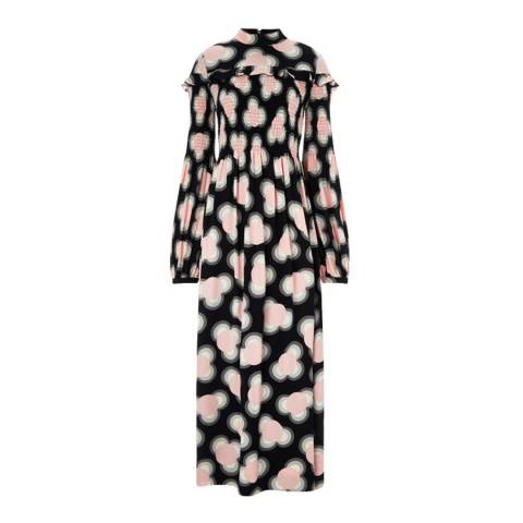 Orla Kiely Petal Pink Viscose Zazie Smocked Long Length Dress