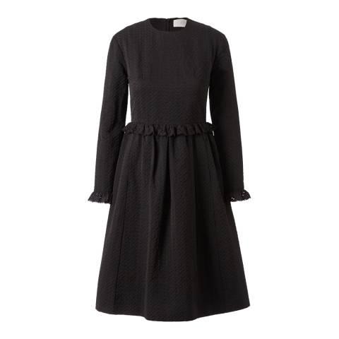 Orla Kiely Black Three Petal jacquard Michele Lace Detail Regular Length Dress