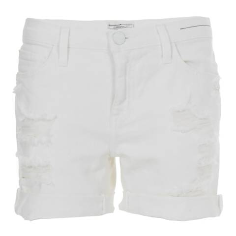 Current Elliott White Distressed Slouchy Cut Off Stretch Cotton Blend Shorts