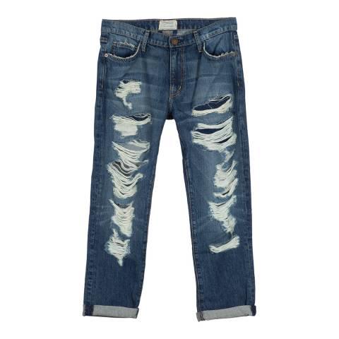 Current Elliott Ocean Destroy Fling Cotton Blend Slim Boyfriend Jeans