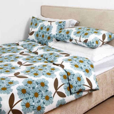 Orla Kiely Cerulian Blue Cotton Rhododendron Single Duvet Cover