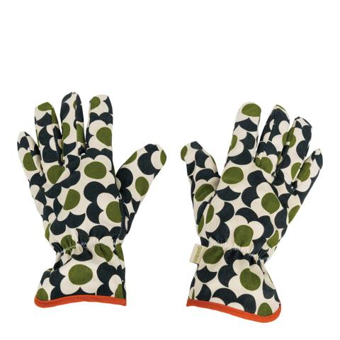 Orla Kiely Olive Green Cotton Flower Tile Potting Gloves
