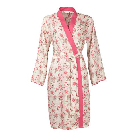 Cyberjammies Pink/Cream Pretty Tina Floral Print Short Cotton Robe