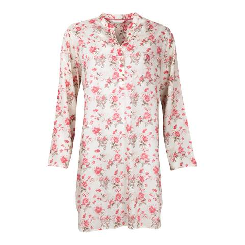 Cyberjammies Pink/Cream Pretty Tina Floral Print Cotton Nightshirt