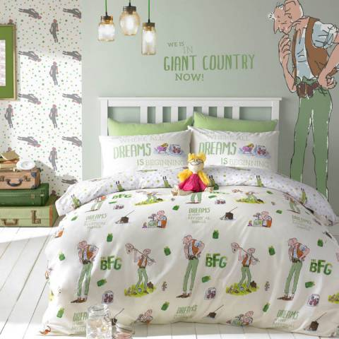 Roald Dahl Multi The Big Friendly Giant Cotton Blend Double Quilt Cover Set