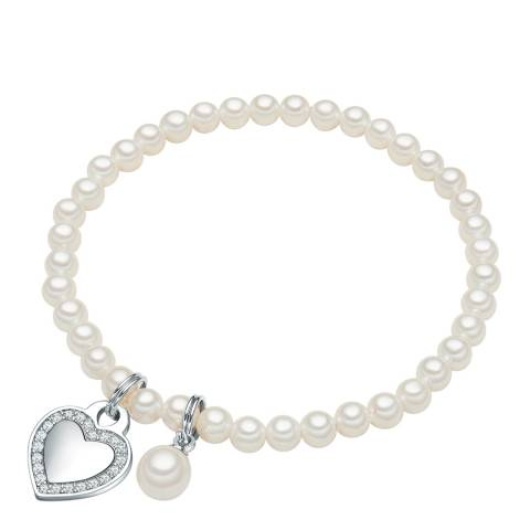 Perldesse Silver Pearl Charm Bracelet 17cm 4mm