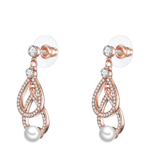 Perldesse Rose Gold White Pearl Chandelier Earrings 6mm