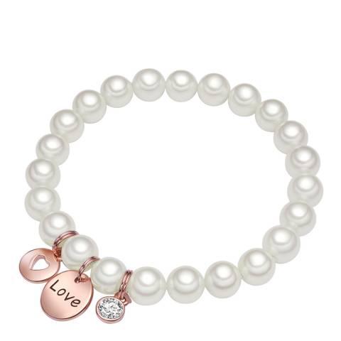 Perldesse White Pearl Love Bracelet