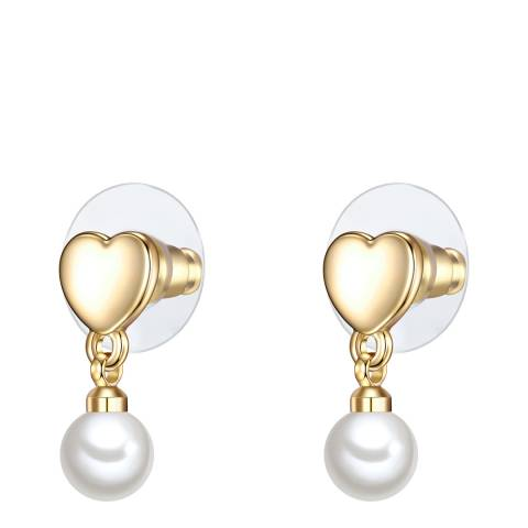 Perldesse White Pearl Heart Shaped Drop Earrings