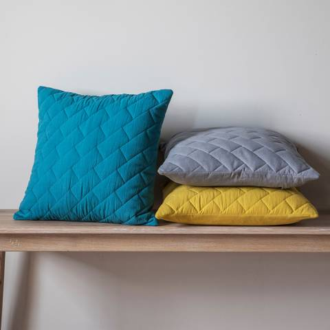Gallery Grey Cotton Bricks Quilted Cushion 45x45cm