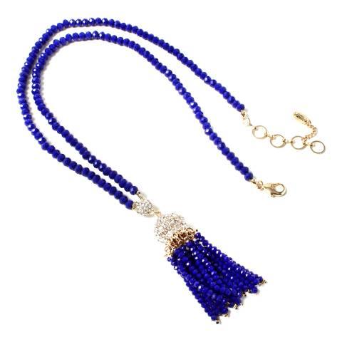 Amrita Singh Blue Ankara Crystal Tassel Necklace