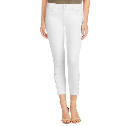 J Brand White Suvi Mid Rise Cropped UtilityJeans