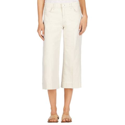 J Brand Mystify Off White Liza Mid Crop Cotton Culottes