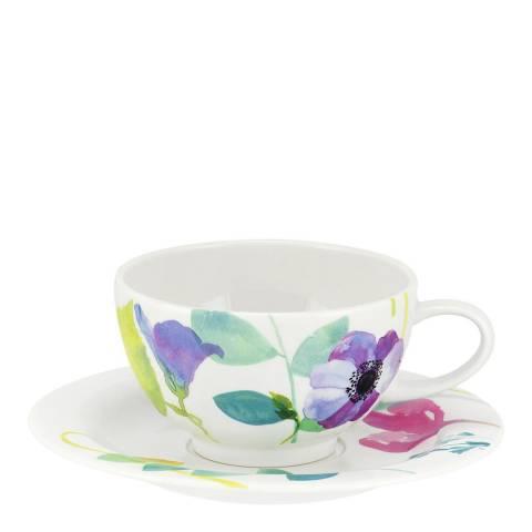 Portmeirion Set of 4 Water Garden Breakfast Cup & Saucers