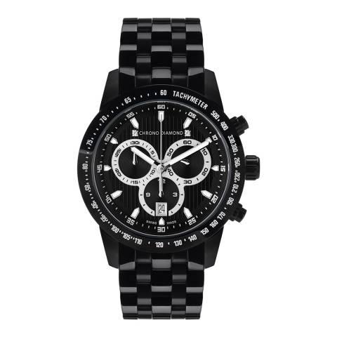 Chrono Diamond Unisex Black Stainless Steel Herrenuhr Theseus Watch