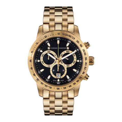 Chrono Diamond Unisex Swiss Gold Herrenuhr Theseus Watch