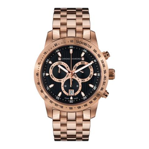 Chrono Diamond Unisex Rose Gold Stainless Steel Herrenuhr Theseus Watch