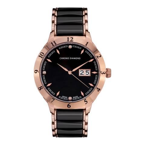 Chrono Diamond Men's Black/Rose Gold Stainless Steel Herrenuhr Thyrso Watch